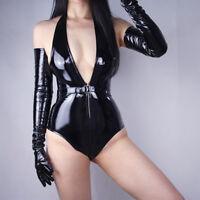 "LLDLLNT LATEX LONG GLOVES Shine Leather Faux Patent PU 28"" 70cm Opera Black"