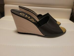CHANEL Black Leather Wood Wedges 36