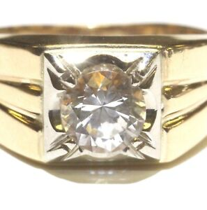 14k yellow gold round Cubic Zirconia cz solitaire mens ring 7.4g gents 8.75