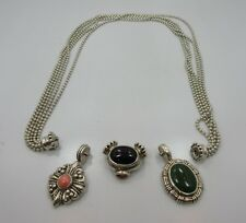 """ESPO SIG Sterling SILVER Black ONYX oval Pendant 5 STRAND chain 925 Necklace 18"""""""