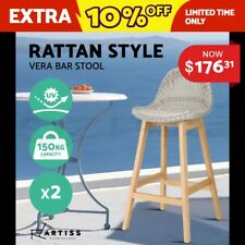 Artiss 2x Vera Outdoor Rattan Bar Stool PE Wicker Barstools Chair Furniture Wood
