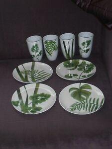 4 plates & 4 tumblers amazon green leaf fern melamine
