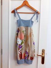Vestido mini de diseño con estampado de flores japonés tirantes. Talla XS Nuevo
