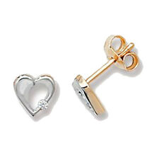 9ct Yellow & White Gold Clear Cubic Zirconia Open Heart Studs ER099