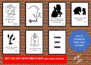 Disney's Beauty & The Beast – Various Quotes – A4 / A5 Photo Frame & Print