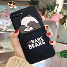3D for iPhone Xs Max X 8 7 6 Embroidery Bear Case Card Pocket Leather Back Cover
