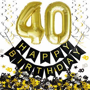 40. Geburtstag Deko Set - Folien Luftballons 40 Deckenhänger Girlande Konfetti