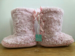 Fluffy Boot Slippers Girls Pink Monsoon Size Child UK 7-8 Soft Comfy Indoor