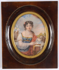 """""""Portrait of a lady with her favorite dog"""", French large miniature, 1810/15"""