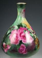 STUNNING LIMOGES HAND PAINTED ROSES LARGE VASE
