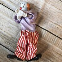 Clown Doll Striped Suit Porcelain Face Rope Arm Legs Vintage 10 In Bozo Circus