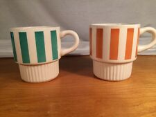 2 (two) Vintage USA Stackable Coffee Cups//Mugs