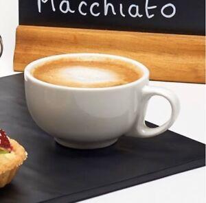 Set of 4 Pure White Tea Coffee Latte Cappuccino Cups 8oz 225ml Porcelain