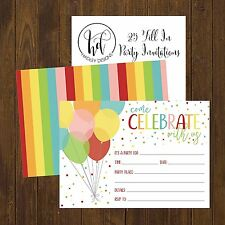 Hadley Designs 25 Rainbow Balloons Celebrate Party Invitations Blank Fill In