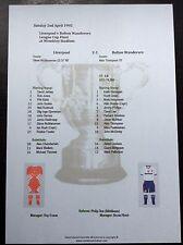 1994-95 League Cup Final Liverpool v Bolton Wanderers matchsheet