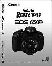 Canon REBEL T4i EOS 650D Digital Camera User Instruction Guide  Manual