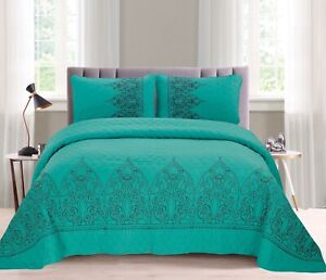 ALICIA FLOWERS TURQUOISE EMBROIDERED BEDSPREAD COVERLET SET 3 PCS QUEEN SIZE