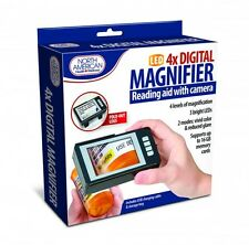 Digital Magnifier With Camera 4X Magnification LED Light Magnify Reading Aid NEW