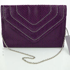 JENNIFER LOPEZ Nina PURPLE CLUTCH Soft SNAKESKIN Silver BEAD & CHAIN STRAP Purse