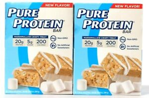 2 Boxes Pure Protein 10.58 Oz Marshmallow Crispy Treat 20g Protein 6 Count Bar