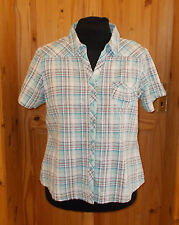 COTTON TRADERS blue green white red check tartan shortsleeve blouse shirt top 20