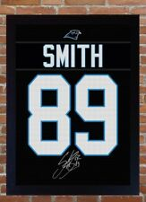 Steve Smith Sr. Carolina Panther NFL signed t-shirt Canvas 100% cotton Framed
