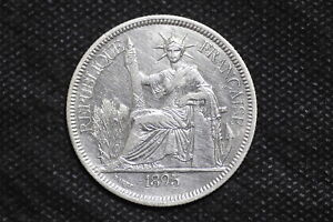 French Indo-china 1895A (27.215GR) Piastre Silver Coin ( Weight : 27.02 g ) C130