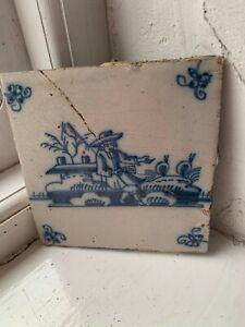 Original antique 17th century Dutch Delft blue painted ceramic tile