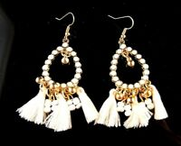 1 Bohemian Pair of Golden Tear Drop White Tassel Dangle Fashion Earrings # 139