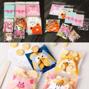 100Pcs Self Adhesive Animal Pattern Plastic Cellophane Cookies Candy Gift Bag