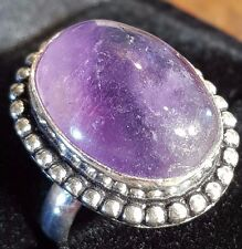 huge amethyst faceted silver lady,s ring size 8 us stone size 22 mm