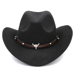 Western Style Cute Kid Boy Girl Winter Wool Wide Brim Cowboy Hat Photography Cap