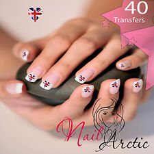 40 x Nail Art Water Transfers Stickers Wraps Decals England Heart