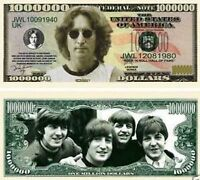 John Lennon of Beatles New-Style Million Dollar Bill Funny Money Novelty Note