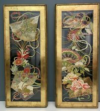 Pair Antique Late 19th C. Qing Dynasty Reverse Glass Paintings 17 x 41 Asian Art