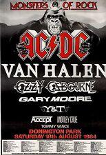 7/7/84pg10 Monsters Of Rock Concert Advert 84 15x10 Ac/dc, Van Halen, Ozzy Osbou