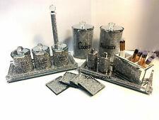 MIRROR CRUSHED DIAMOND TEA COFFEE SUGAR CANISTER JAR BISCUIT COASTERS TRAY SALT