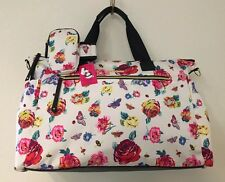 BETSEY JOHNSON BRIGHT LIGHTS FLORAL WHITE WEEKENDER DUFFLE BAG & ARMBAND NWT