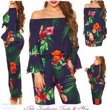 NEU 36-38 ♡ 2-Teiler Viskose Carmen-Tunika Hose Caribian-Blumen-Print Kombi S-M