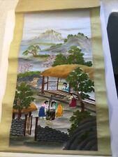 New listing Japanese Scroll Embroidery Art Women Work Scene