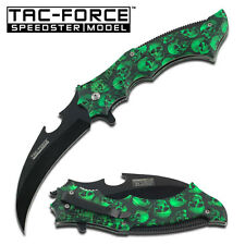 TAC FORCE Green Skull Handle With Hawksbill Blade Assisted Opening Knife