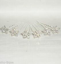 6 Silver Colour Hair Pins Diamante Snowflake Style Wedding Bridal Prom