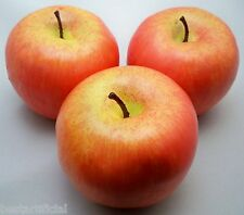 3 Large Best Artificial Red Apples Decorative Plastic Bowl Fruit Realistic New