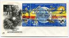 1912-19 Space Achievements, ArtCraft 7 1/2 Moon Landing, block of 8, FDC