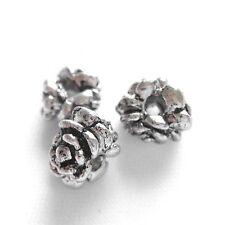 6 pz - Roselline - argento tibetano - 8 x 6 mm