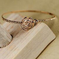 Elegant Lady Fashion Rhinestone Camellia Rose Gold Bangle Cuff Bracelet Jewelry