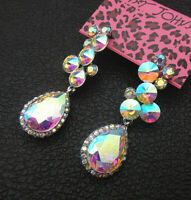 Betsey Johnson Bling AB Crystal Rhinestone Flower Teardrop Stud Earrings
