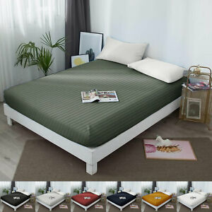 Luxury Extra Deep Stripe Fitted Sheets Single Double King Super King Bed Sheets