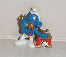 Vintage Schleich Chatty Smurf on Phone Peyo PVC Figurine 1980