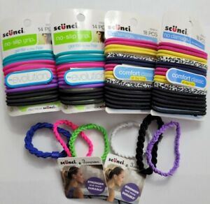 Mixed Lot Scunci No-slip Grip No Damage Fitness Hair Ties Ponytailers 70 Count